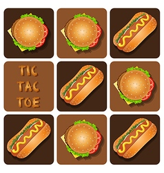 Tic-tac-toe hot dog and hamburger vector