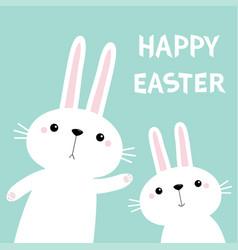two rabbit bunny waving paw print hand happy vector image