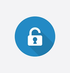 unlock Flat Blue Simple Icon with long shadow vector image