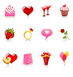 valentine day icons vector image vector image