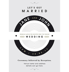 Wedding invitation black and grey theme vector