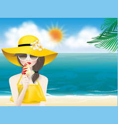 woman on summer beach with ice cream cone vector image