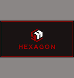 yh hexagon logo design inspiration vector image