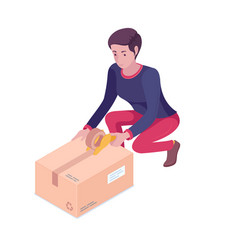 young caucasian white woman packing cardboard box vector image