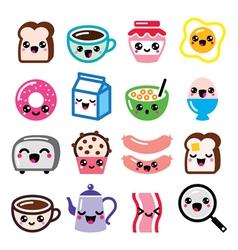 Kawaii breakfast food and beverages cute vector image