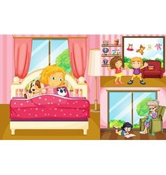 Kids doing different activities at home vector image vector image