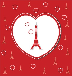love hearts on red with eiffel tower vector image vector image