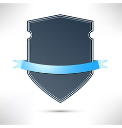 Modern badge with blue ribbon template vector image