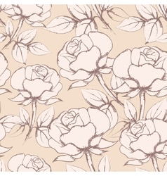 Rose Flowers Seamless Pattern in vintage style vector image vector image