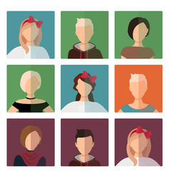 short hairstyles female avatar icons set vector image vector image