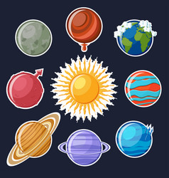 solar system or planets sticker set vector image vector image