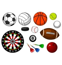 Sport items with balls puck and darts vector image