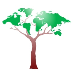 Worldmap on tree vector image vector image