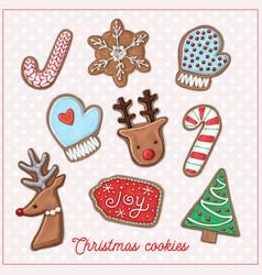 christmas cookie set vector image