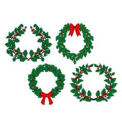 Christmas holly garlands set vector image