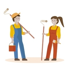 Couple of House Painters vector image vector image