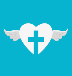 heart with cross religious symbol vector image