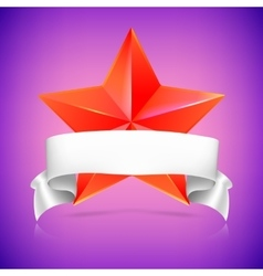 Red star with ribbon vector image