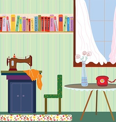 Retro room interior with sewing machine and phone vector image vector image