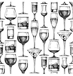 seamless pattern with different glasses goblets vector image