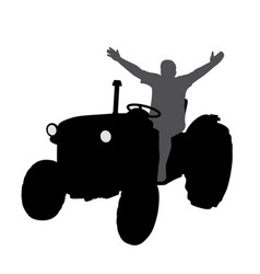 successful happy farmer on tractor with hands up vector image vector image