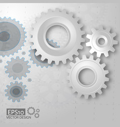 white 3d gears on the gray blueprint background vector image