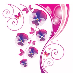 Abstract background with pink viola and butterfly vector image vector image