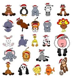 cute christmas animal set vector image