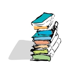 hand drawn books vector image