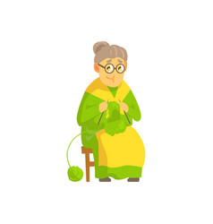 old lady knitting wool product vector image