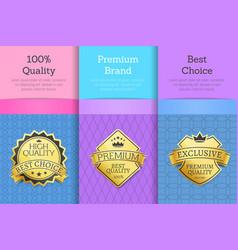 quality premium brand best choice set golden label vector image
