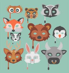 set of cartoon animals party masks holiday vector image vector image
