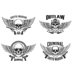 set of winged skulls with weapon design elements vector image