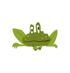Sitting toad flat cartoon stylized vector