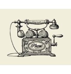 Vintage telephone Hand-drawn sketch retro phone vector image vector image