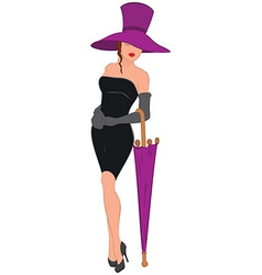 Cartoon young woman in mini black dress with vector image