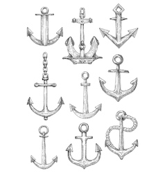 Decorative nautical anchors with chain and rope vector image