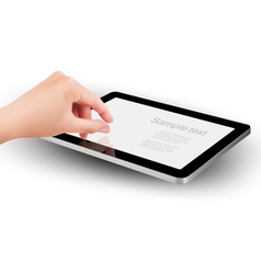 Fingers pinching to zoom tablet s screen vector image