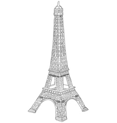 hand drawn eiffel tower vector image vector image