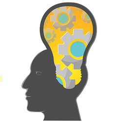 Human Head Bright Lamp Gear vector image