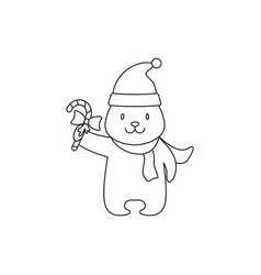 a christmas white bear of icon holiday day vector image