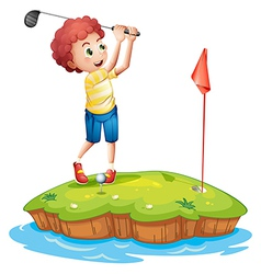 A young man playing golf vector image