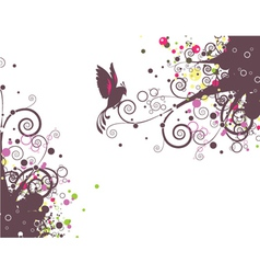 Abstract floral with bird vector