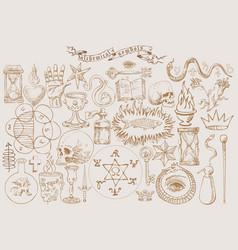 Alchemical symbols vector