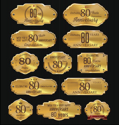 anniversary golden labels collection 80 years vector image