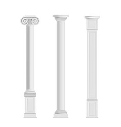 antique columns from marble stone realistic vector image