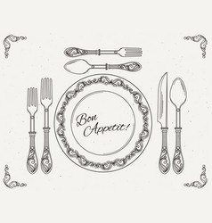 Banquet tableware vintage dish with spoon fork vector