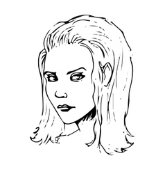 Beauty girl face sketch vector image