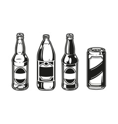 Beer bottles and aluminum can set vector