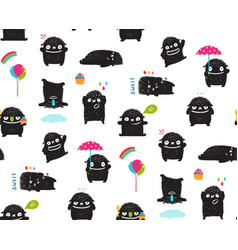 black monsters kids seamless pattern vector image
